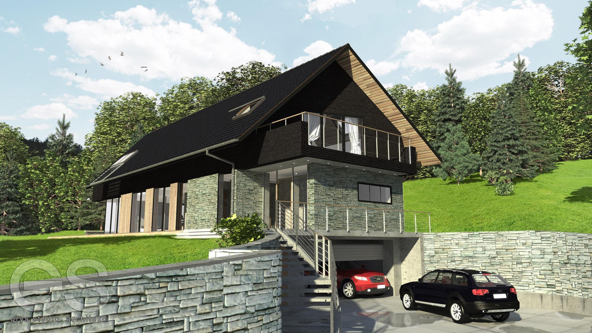 dom jednorodzinny Bystra, rezydnecja górska, projekt domu Bielsko-Biała