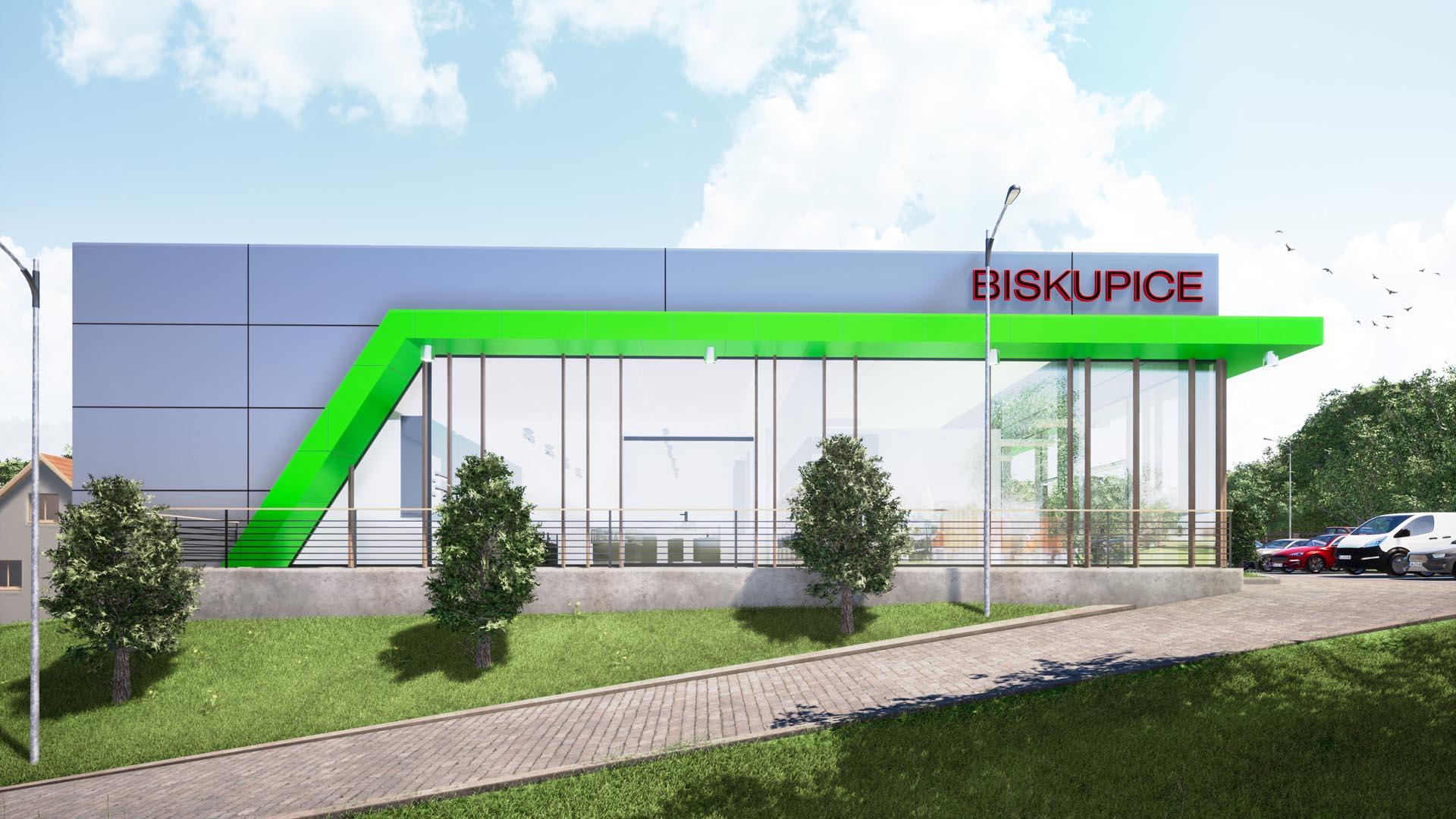 biskupice projekt budynku usługowego